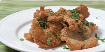 Breaded pleurotus mushrooms
